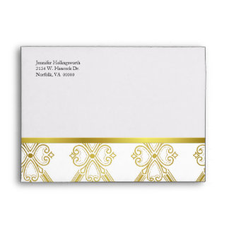 Gold Tone & White Damask Special Occasion Envelope