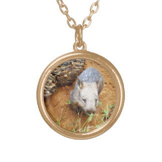 Gold_Toned_Hairy_Nose_Wombat, _Pendant_Necklace. Collar Dorado