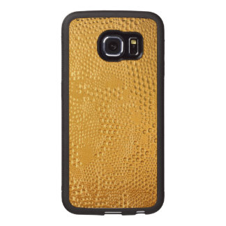 Gold Tones Abstract Shiny Water Droplets Wood Phone Case
