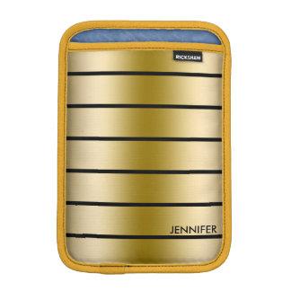 Gold Tones & Black Stripes Pattern iPad Mini Sleeve