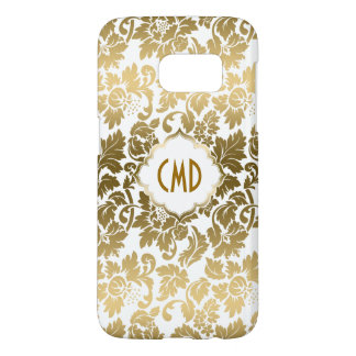 Gold Tones Damasks Over White Background Samsung Galaxy S7 Case