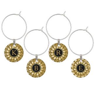 Gold Tones Diamonds Geometric Design Wine Charm