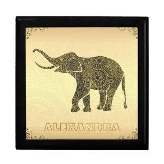 Gold Tones Elephant-Custom Monogram Keepsake Box
