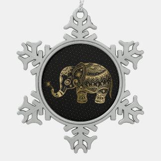 Gold Tones Elephant Illustration Snowflake Pewter Christmas Ornament
