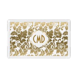 Gold Tones Floral Damasks Over White Background