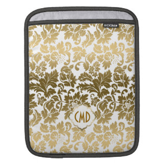 Gold Tones Floral Damasks Over White Background Sleeve For iPads