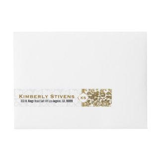 Gold Tones Floral Damasks Over White Background Wraparound Address Label