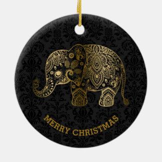 Gold Tones Floral Elephant On Black Damasks Ceramic Ornament
