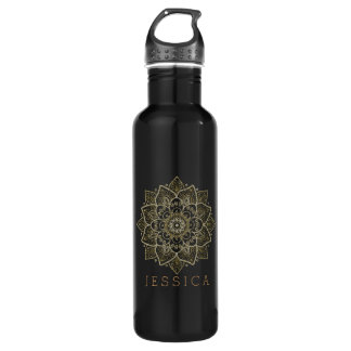 Gold Tones Floral Lace Circle Mandala Water Bottle