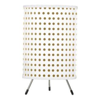 Gold Tones Polka Dots Pattern Tripod Lamp