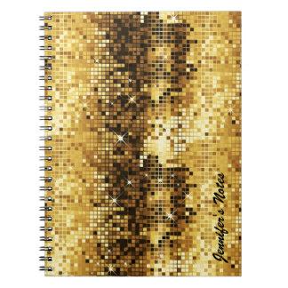 Gold Tones Retro Discoball Glitter Spiral Note Book