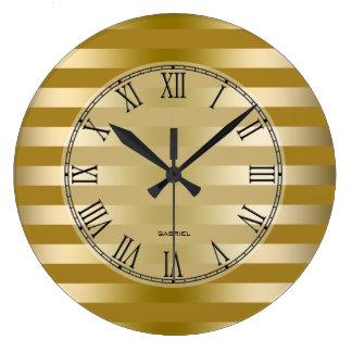 Gold Tones Stripes Pattern Large Clock