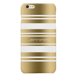Gold Tones Stripes White Background Glossy iPhone 6 Plus Case