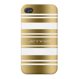 Gold Tones Stripes White Background iPhone 4 Cover