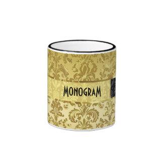Gold Tones Vintage Floral Damasks 2 Customized Ringer Mug