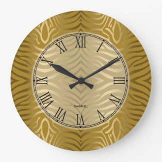 Gold Tones Zebra Stripes Pattern Large Clock