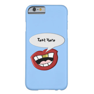 Gold Tooth Mouth Custom Blue Barely There iPhone 6 Case