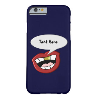 Gold Tooth Mouth Custom Navy Blue Barely There iPhone 6 Case