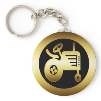 GOLD TRACTOR KEYCHAIN
