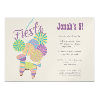 GOLD Traditional Donkey Fiesta Pinata Birthday 5x7 Paper Invitation Card
