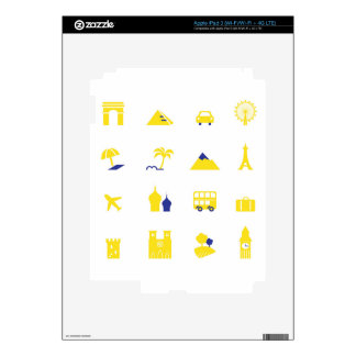 GOLD TRAVEL ICONS EDITION DECALS FOR iPad 3