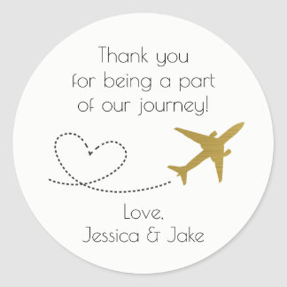 Gold, Travel Themed Thank You Stickers- Favors Classic Round Sticker
