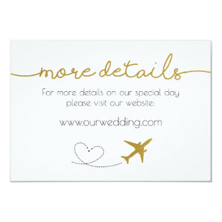 Gold, Travel Themed Wedding Details Card