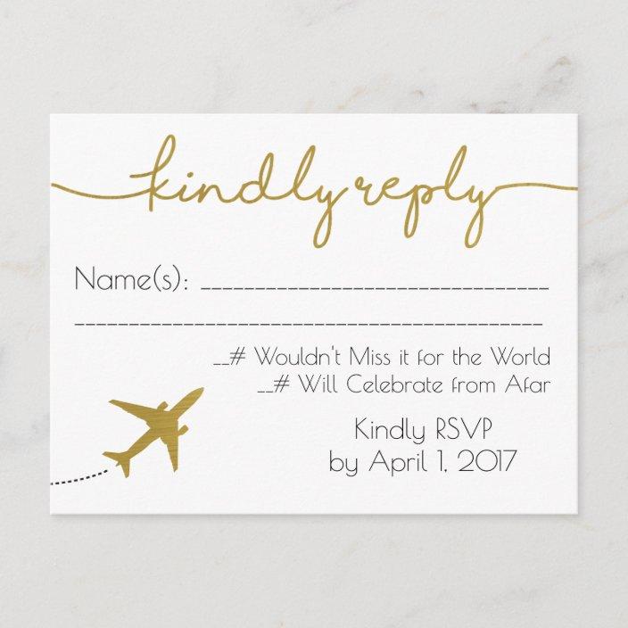 Gold Travel Wedding Rsvp Postcard