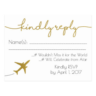 Gold, Travel Wedding RSVP Postcard
