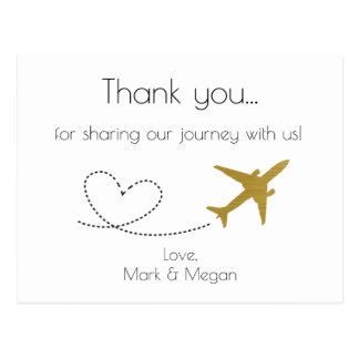 Gold, Travel Wedding Thank You Postcard