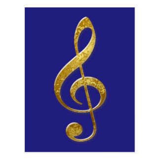 """""""gold"""" treble clef cards, stickers and giftwrap postcard"""