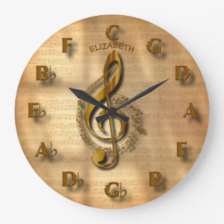 Gold Treble Clef Clock With Circle Of Fifths Music