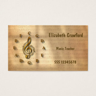 Gold Treble Clef Clock With Circle Of Fifths Music Business Card