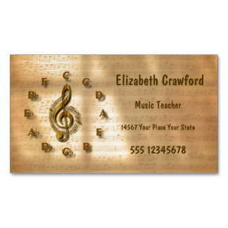 Gold Treble Clef Clock With Circle Of Fifths Music Business Card Magnet