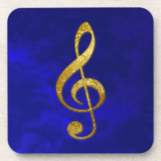 """gold"" treble clef - home decor drink coaster"