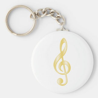 """Gold"" Treble Clef Key Chains"