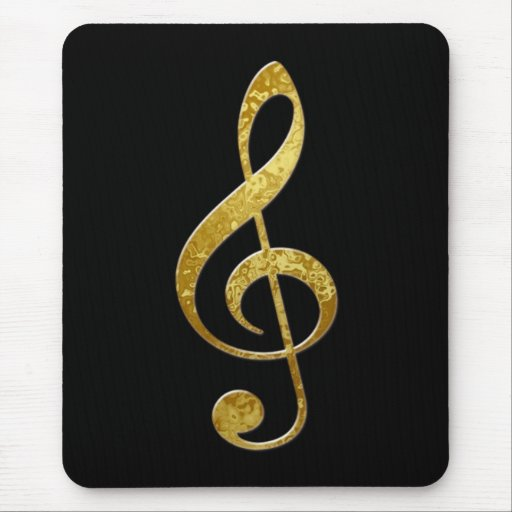 gold treble clef mouse pad