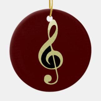 Gold Treble Clef Music Ornament