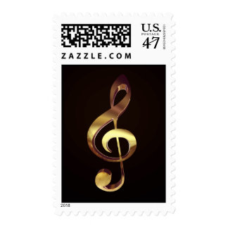 Gold Treble Clef Music Postage