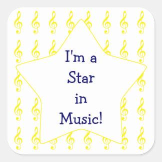 Gold Treble Clef Music Star Square Sticker