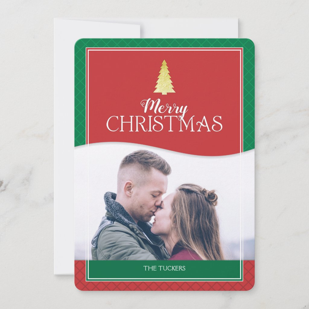 Gold Tree Christmas Photo Red and Green Holiday Card