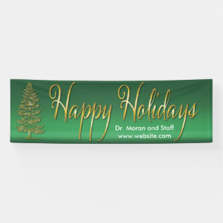Gold Tree Happy Holidays Banner