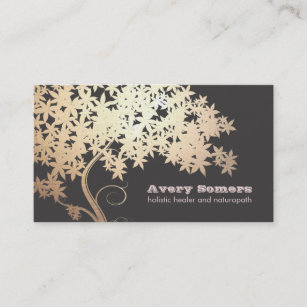 Holistic business cards templates zazzle gold tree holistic health healer business card colourmoves