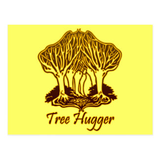 Gold Tree Hugger Nature Trees Environment Postcard