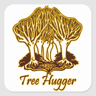 Gold Tree Hugger Nature Trees Environment Square Stickers
