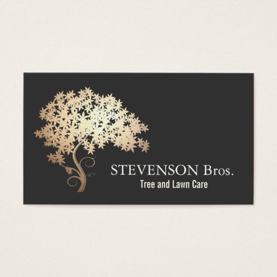 Garden Design Business Cards gold tree lawn care landscape and garden designer business card