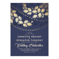 Gold Tree Leaves and Lights | Navy Blue Wedding Card