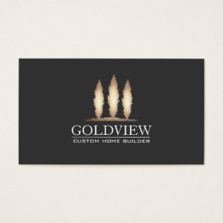 Gold Tree Logo Building Contractor Elegant Black Business Card