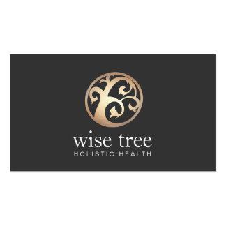 Gold Tree Logo Elegant Alternative Healing Arts Business Card