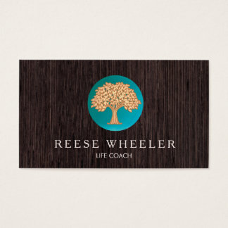 Gold Tree Logo Life Coach and Wellness Counselor Business Card